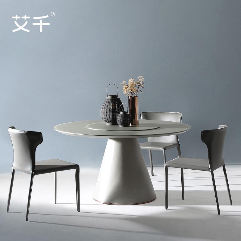 艾千 钢化玻璃圆桌 简约现代圆形餐桌饭桌二层带转盘6人餐台1.4米