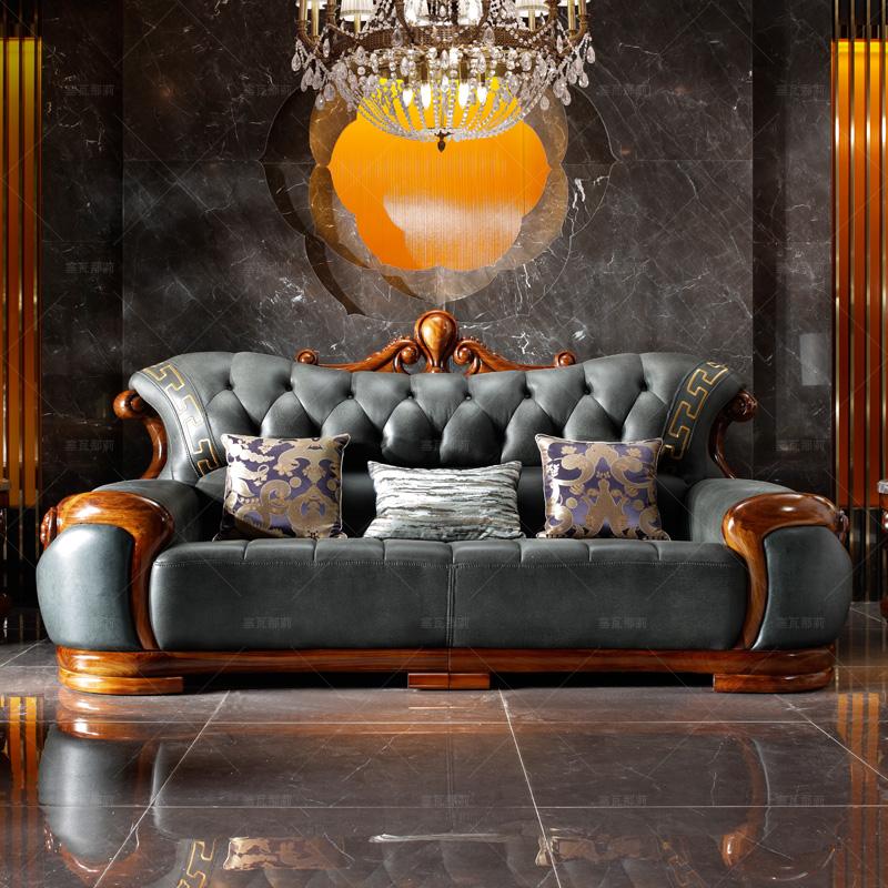 塞瓦那莉别墅家具 欧式实木真皮沙发乌金木中式豪宅客厅贵妃T5