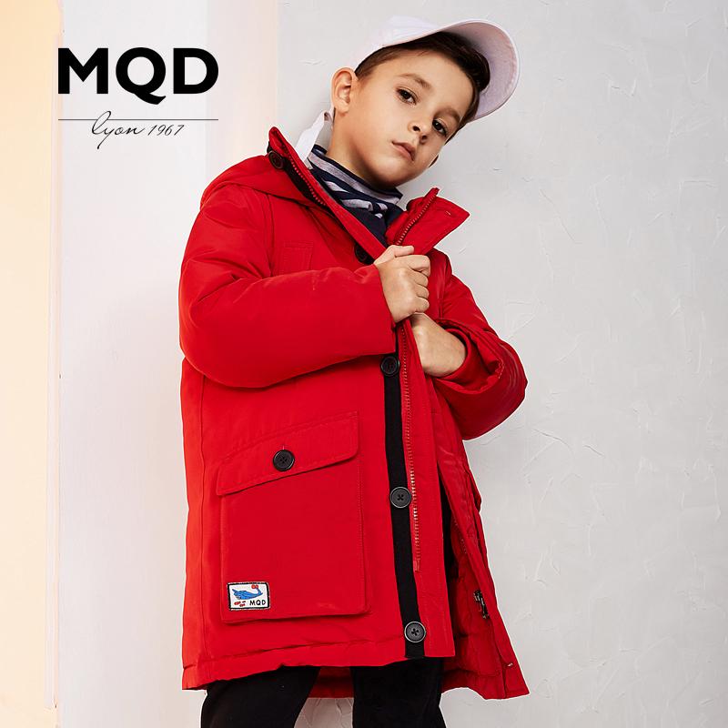 [到手价:499元]MQD童装男童羽绒服2018新款冬装中大童加厚中长款