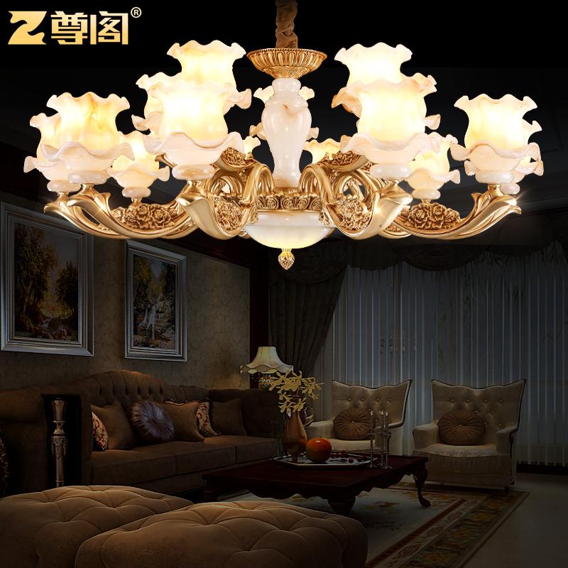 尊阁 美式全铜欧式吊灯017玉石纯铜卧室灯具客厅灯餐厅复式楼铜灯