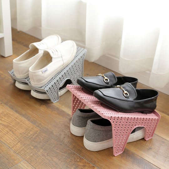 Double shoe rack space space shoe home daily necessities department store living room plastic shoe rack slippers storage rack