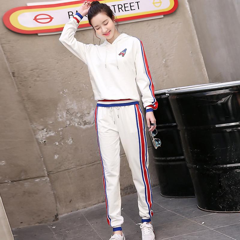 浣纱溪2018春秋新款时尚卫衣两件套女韩版连帽长袖休闲运动套装潮