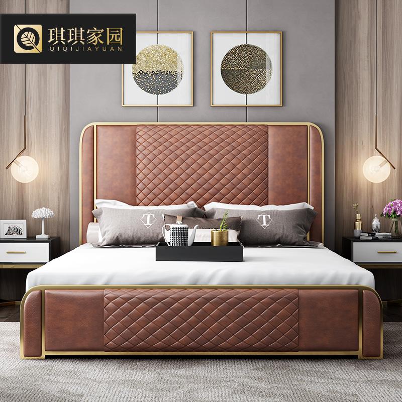 琪琪家園 后現代簡約真皮床雙人床 主臥室港式輕奢高靠背床結婚床