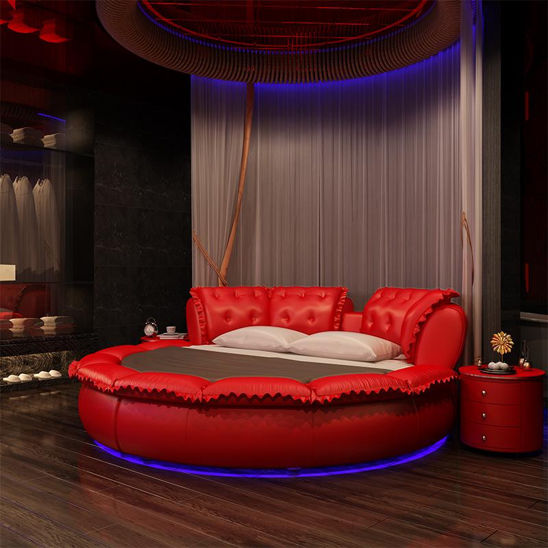 包邮圆床双人床时尚现代软床婚床欧式公主床中式真皮床婚床大圆床