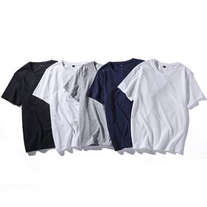 夏季男士短袖t恤圆领韩版修身纯色半袖上衣休闲打底衫衣服男装潮