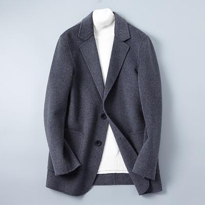 双面呢休闲西装男毛呢修身2018新款冬季外套潮流韩版英伦风西服男