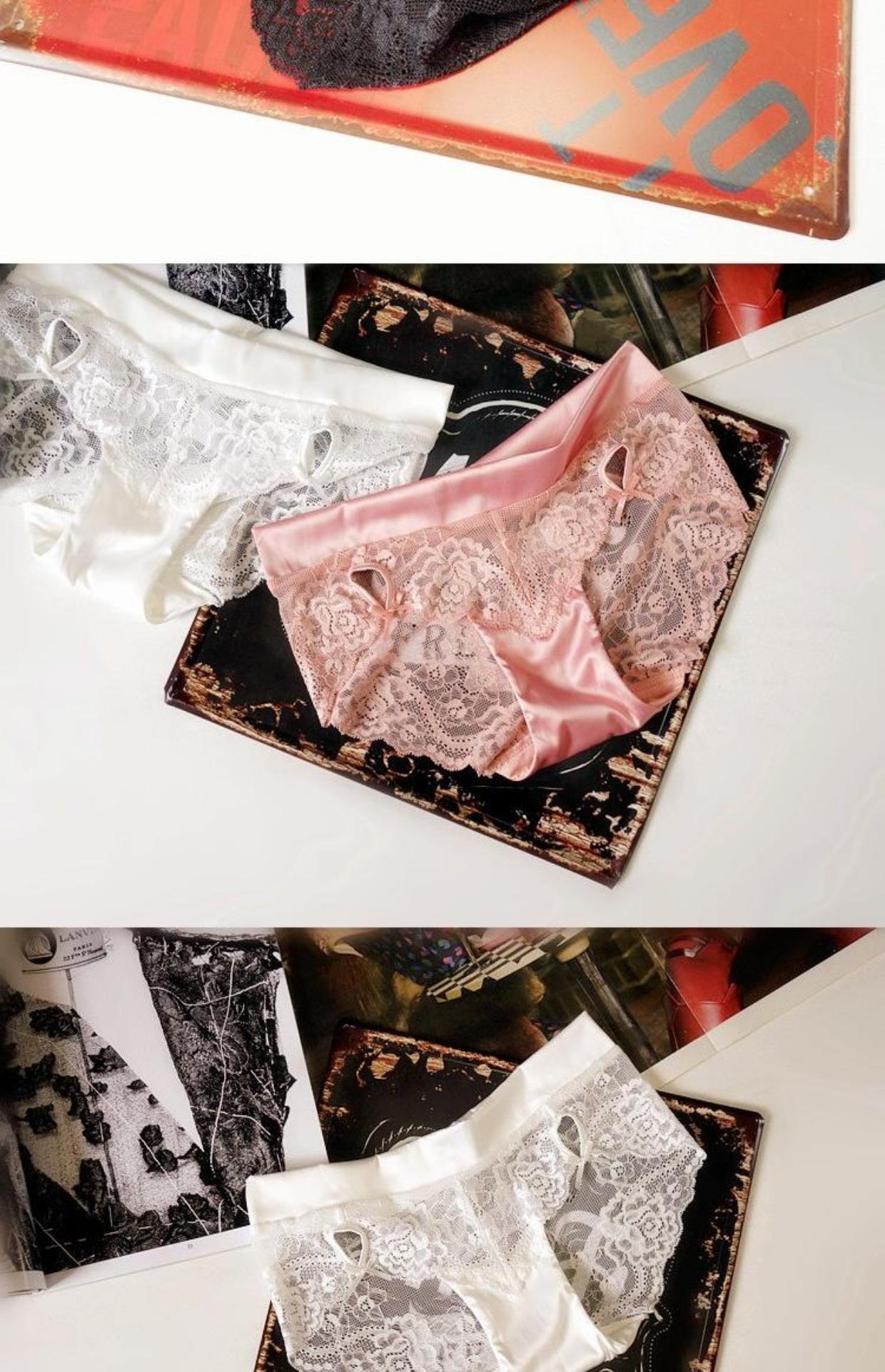 时尚绸缎女蕾丝内裤品牌奢华欧美透明网纱包臀低腰情趣v时尚三角裤情趣用品排行性感女图片