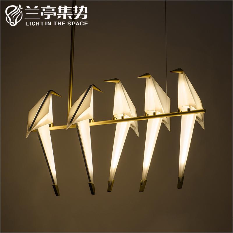 兰亭集势后现代创意个性小鸟吊灯餐厅灯吧台服装店北欧千纸鹤吊灯