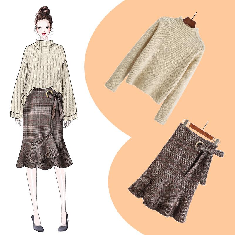 秋季高领毛衣套装女裙子两件套裙2018新款时尚韩版洋气宽松小香风