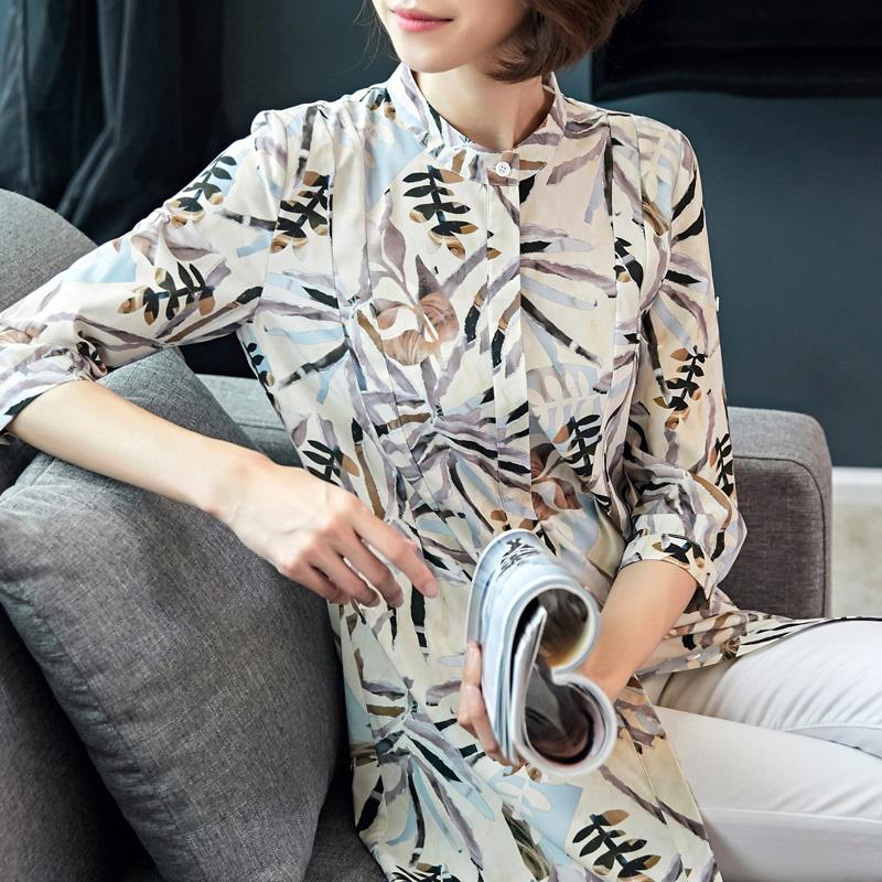 2018春夏yabo会员女装衬衫韩版中袖碎花雪纺衫女士中长款防晒衣上衣