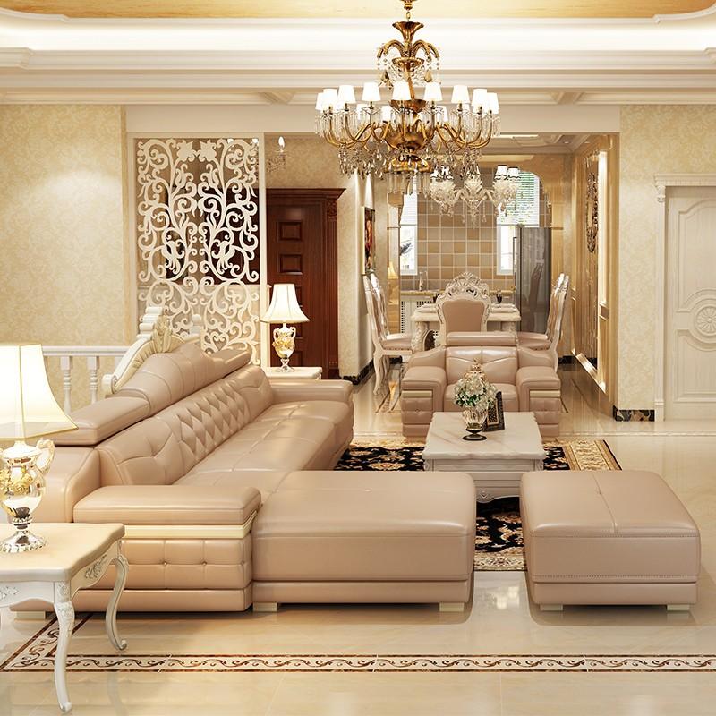 凯瑞蒂欧式转角真皮沙发客厅组合套装 头层牛皮简欧皮艺沙发整装