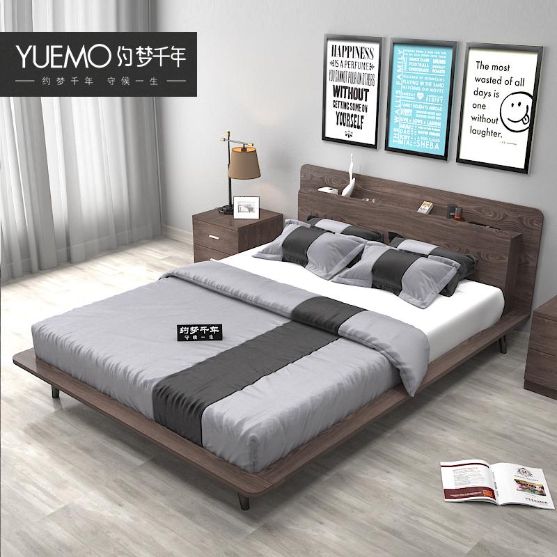 榻榻米床主次卧室整体现代简约经济型板式床1.8 1.5米单双人床
