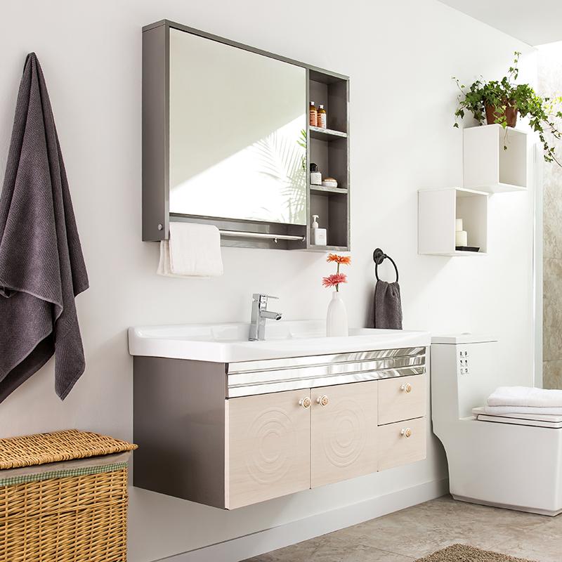 克丽菲儿卫浴柜 洗脸盆洗漱台时尚304不锈钢浴室柜组合卫生间镜柜