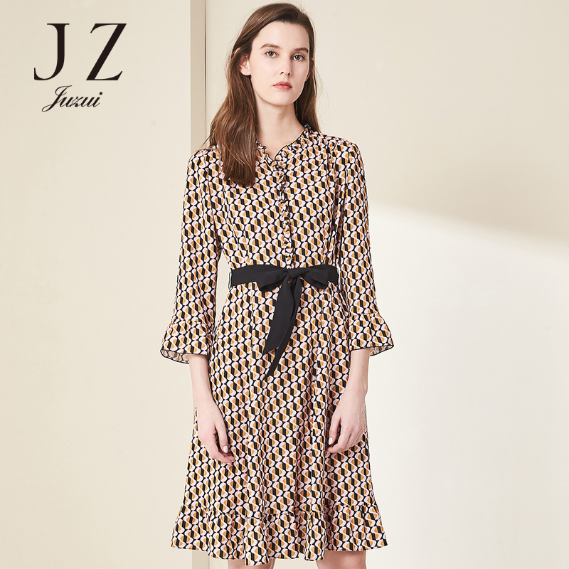 JUZUI-玖姿2018夏装新款波普花纹印花修身雪纺连衣裙女中长款显瘦