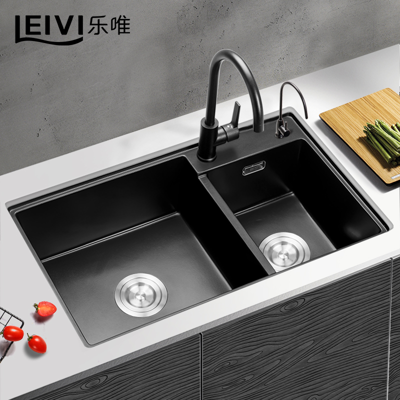 乐唯石英石水槽双槽花岗岩厨房洗菜盆加厚洗碗池套餐水盆水池795