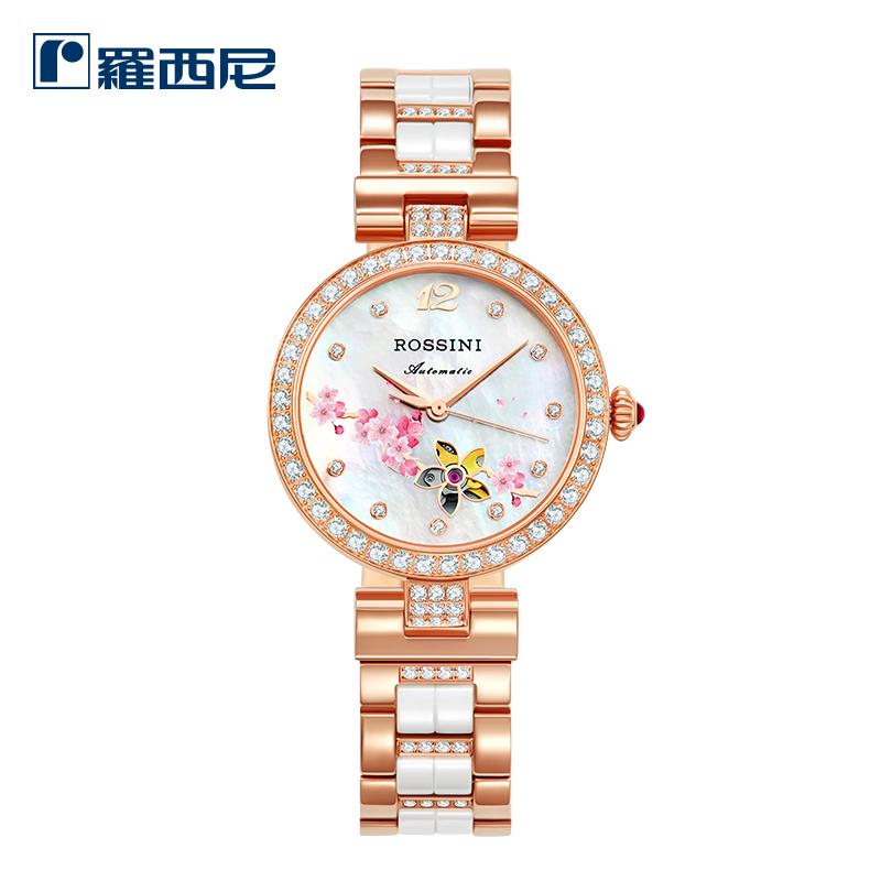 新款罗西尼手表女正品陶瓷表带时尚简约潮流女表防水机械表6758