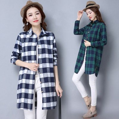 Spring and Autumn cotton women's wild long plaid shirt skirt fat mm large size loose loose dress shirt