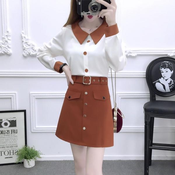 【实拍】9870#气质淑女时尚套装拼色雪纺衫高腰A字半身裙两件套女
