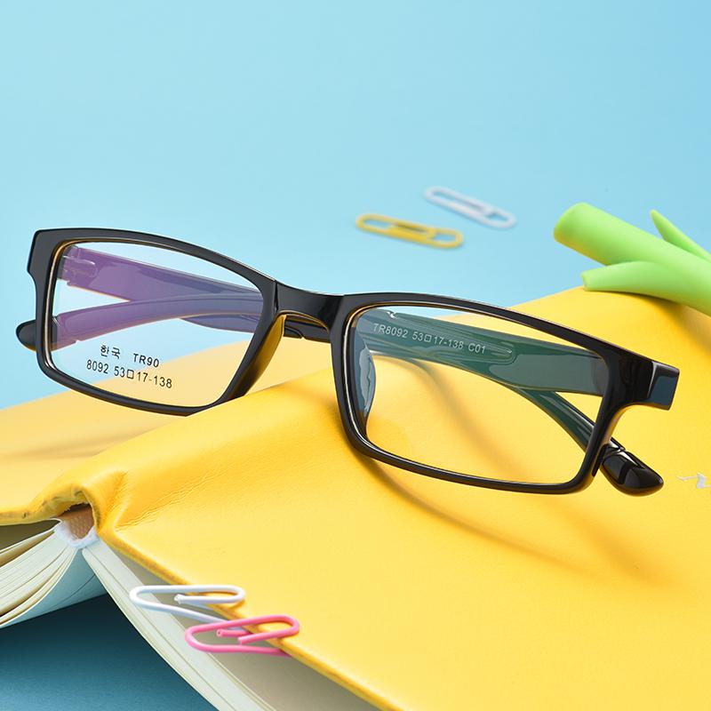 眼镜近视女平光全框成品眼镜框男学生架圆脸眼睛配有度数变色板材