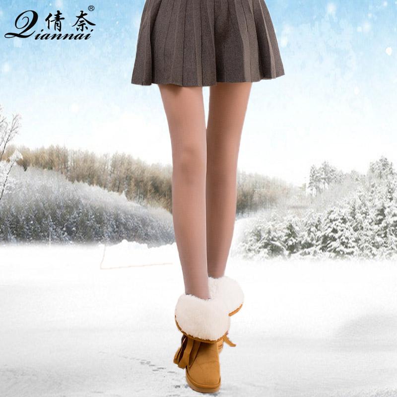 秋冬加绒加厚保暖超透假透肉打底裤外穿无缝踩脚裤女逼真光腿神器产品展示图1
