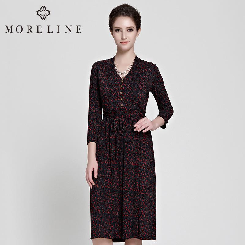 商场同款MORELINE沐兰春季新品V领长袖绑带复古印花连衣裙9620303