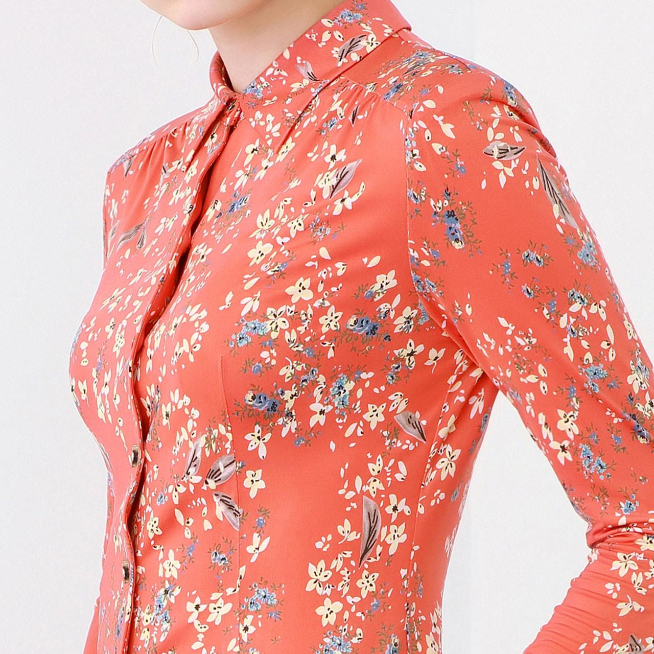 MORELINE沐兰女装2018春夏新款经典优雅浪漫印花长袖衬衫18153611