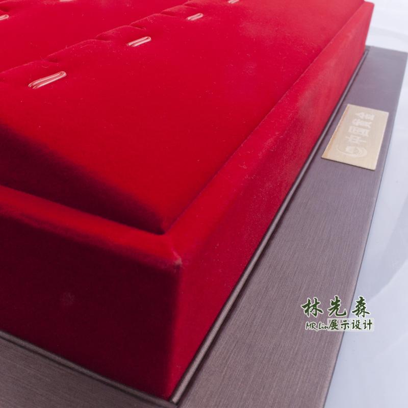 红绒黄金托盘吊坠盘首饰展示盘高级珠宝道具柜台橱窗