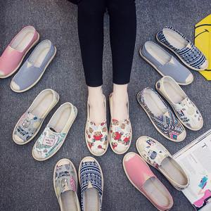 春夏韩版老北京布鞋女春秋软底一脚蹬懒人鞋透气平底单鞋帆布鞋女