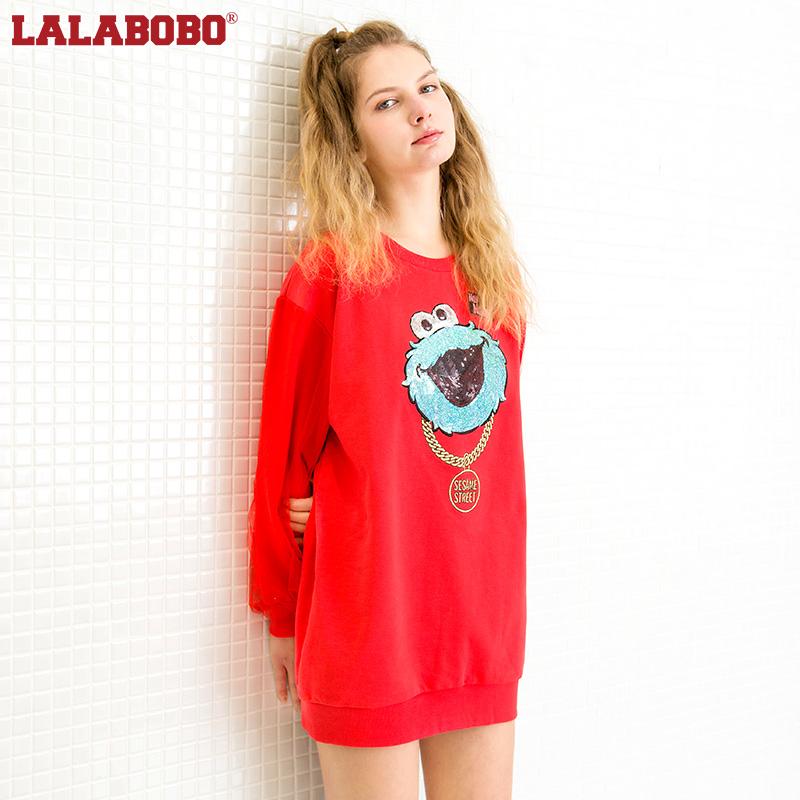 LALABOBO春装新款撞色字母套头衫卫衣女|Z01D-WZTS51