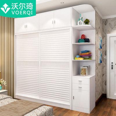 现代储物衣柜板式推拉门简约2门组合大衣柜卧室家具多功能