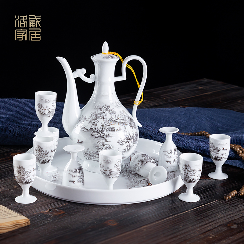 Wine suits for home Wine Wine warm old Chinese wind hip points of jingdezhen ceramic antique white Wine cup