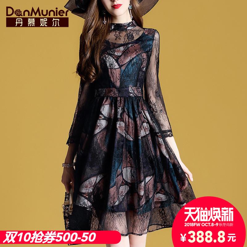 丹慕2018秋装新款女装时尚气质蕾丝连衣裙子九分袖显瘦A字裙10428