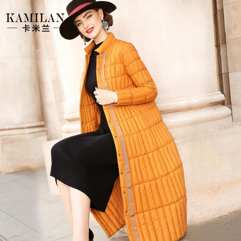 KAMILAN 卡米兰2018冬季新款小立领羽绒服女宽松中长款羽绒外套