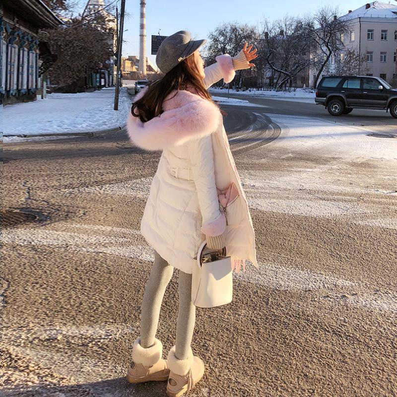 谜秀白色羽绒服女中长款2018冬装新款韩版超大毛领修身加厚外套潮