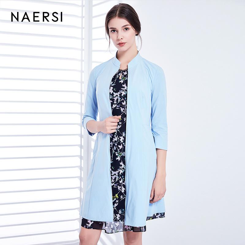 NAERSI-娜尔思2018年春夏新品休闲修身显瘦中长款七分袖风衣外套