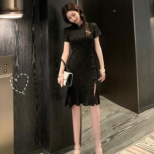 实拍 新款夏季流行性感开叉少女年轻款气质短袖旗袍连衣裙803...