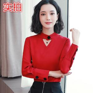 1061#2019春季新款韩版立领雪纺衫修身打底衫女长袖
