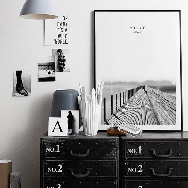 北欧风玄关装饰画黑白现代简约客厅挂画风景书房卧室壁画摄影桥