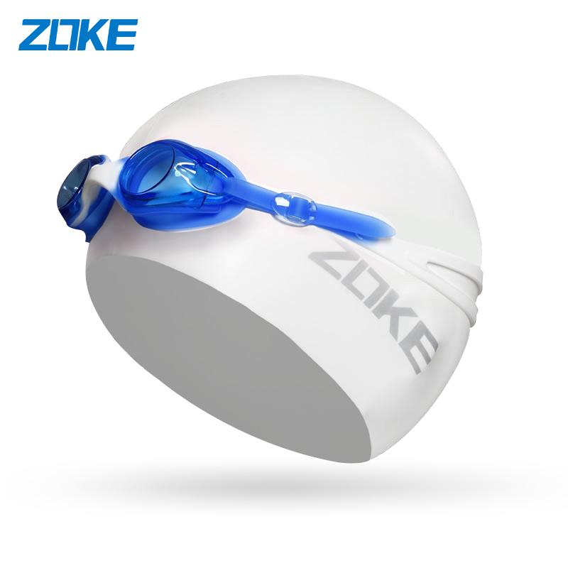 洲克儿童泳镜泳帽套装男童女童通用防水护耳高清防雾平光游泳眼镜