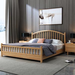 立骏北欧日式实木床1.5m1.8米双人主卧室床现代新中式简约家具