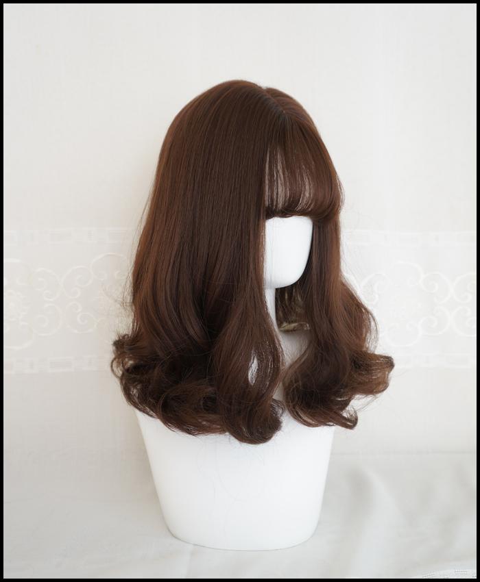 水舞假发韩系时尚空气刘海发尾卷潮流巧克力中长波浪卷逼真假发套图片
