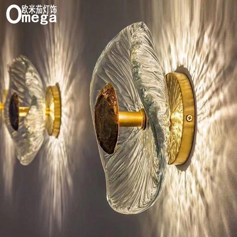 轻奢风格后现代创意铜材手工水晶玻璃客厅玄