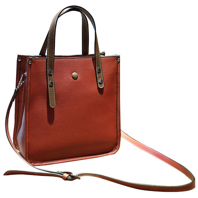 菲色如华秋冬新款时尚牛皮女包托特包撞色单肩包斜挎包手提包包女