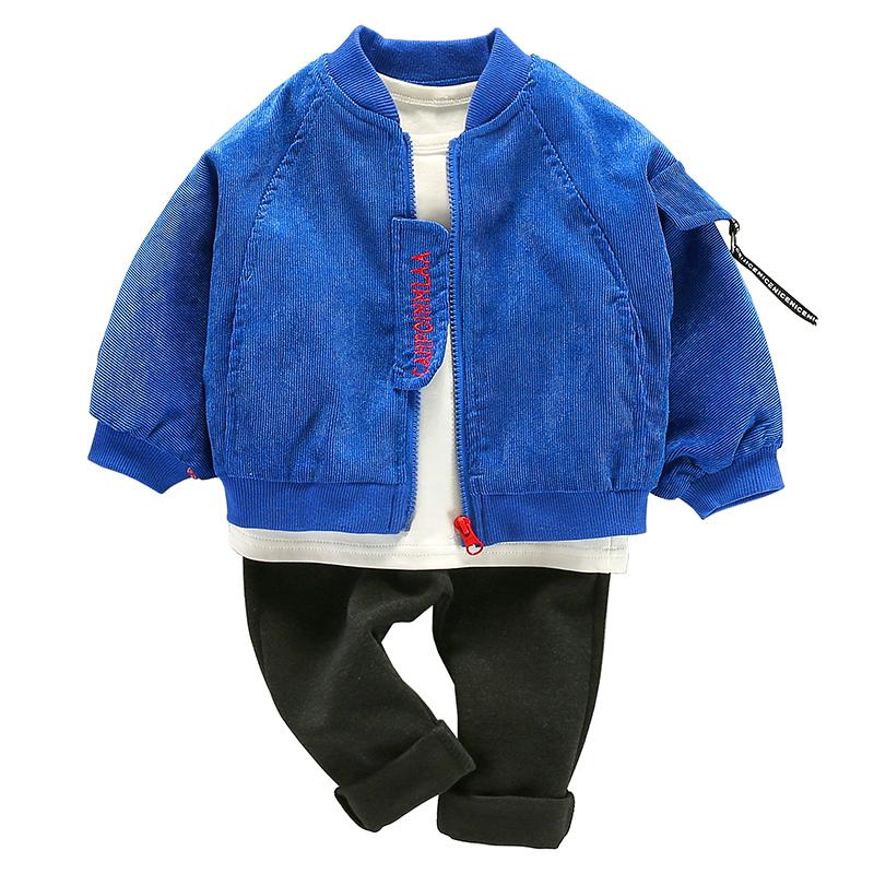 宝宝秋装三件套男童套装一岁0一1儿童衣服秋季帅气周岁韩版潮童装