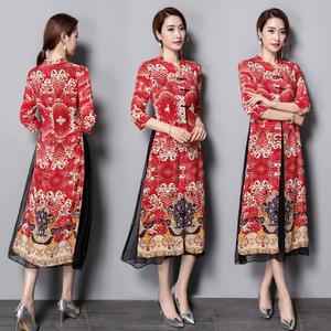 秋装上新2018假两件改良旗袍中国风印花拼接连衣裙中长款