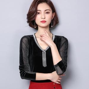 实拍网纱打底衫女长袖2018春季新款T恤V领大码修身纯色小衫