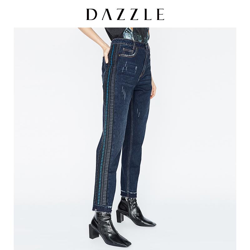 DAZZLE地素17冬专柜新款 拼接刺绣毛边水洗牛仔长裤 2A4R6111T