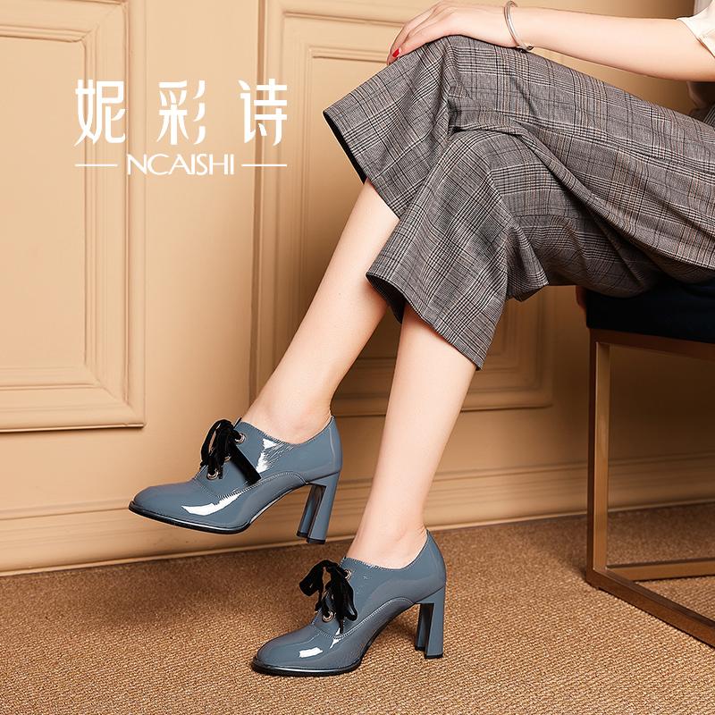 漆皮鞋子粗跟女靴春秋单靴女百搭短靴2018新款及踝靴系带高跟裸靴