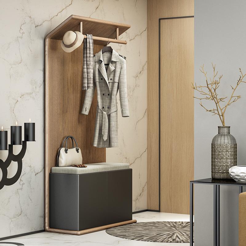 北欧多功能衣帽架鞋柜换鞋凳现代简约落地衣帽架门厅玄关柜挂衣架
