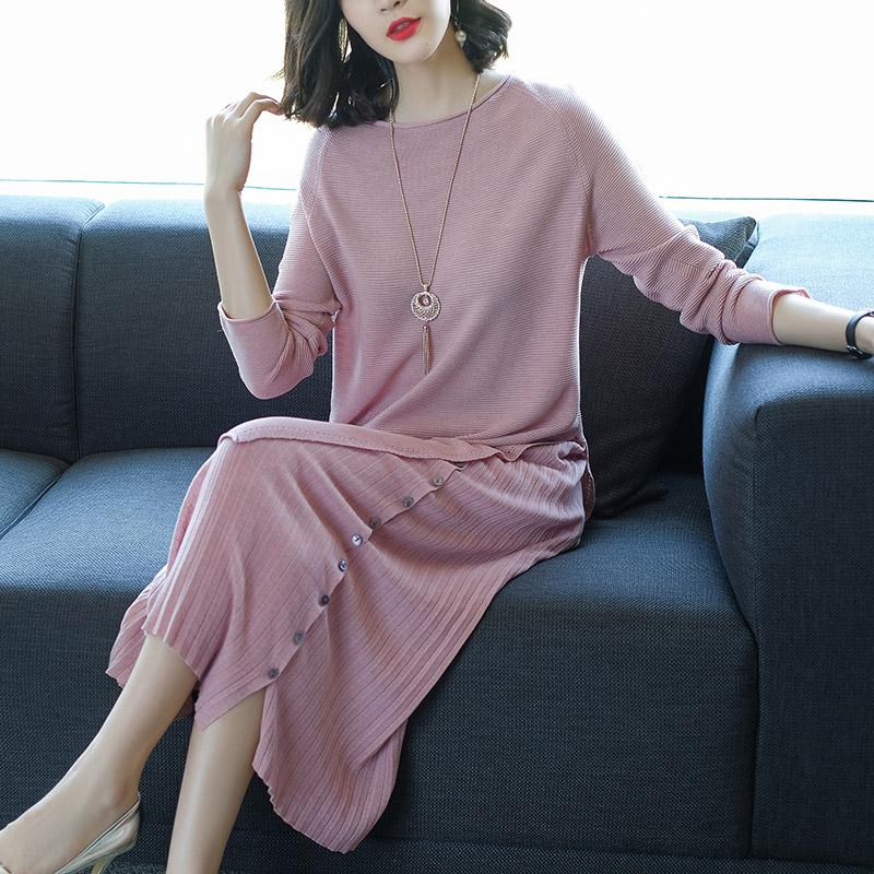 菲西娅2018秋装新款长袖针织衫百褶中长裙两件套时尚针织套装裙女